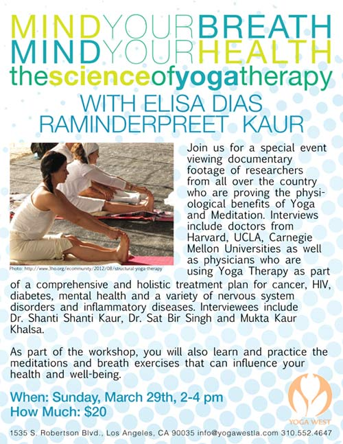 Science of Yoga Therapy with Raminderpreet - Sun, march 29, 2-4 pm